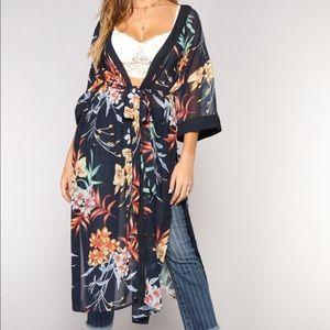 Tropical state of mind kimono navy multi